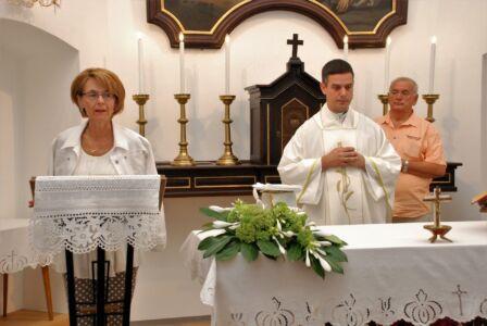 M.Goll, V. Sedlak I M. Lukić Na Misi članova UKI-ja, Osijek,28.8.20.